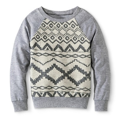 Miss Chievous Girls' Front Overlay Sweatshirt