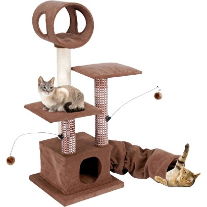 Cat-Life Activity Lounging Tower & Tunnel with Retreat Hide-Away from