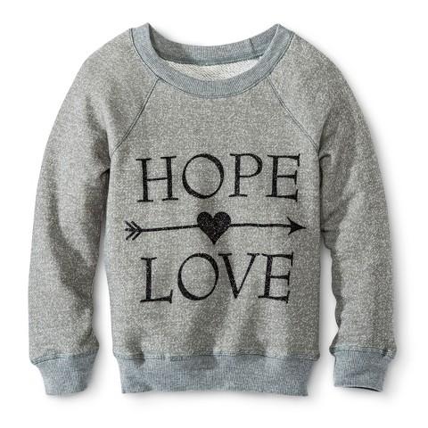 Girls' Glitter Hope/Love Sweatshirt