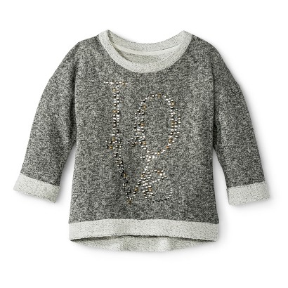 Miss Chievous Girls' Embroidered Love Pullover