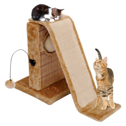 Cat-Life Activity Center with Sisal Slide & Bamboo Rubbing Post from
