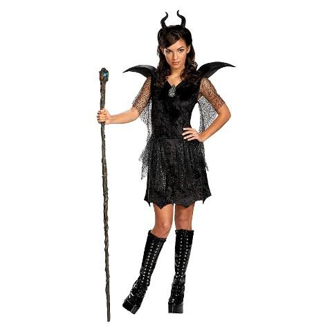 Girl's Maleficent Deluxe Black Tween/Teen Gown and Headpiece