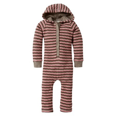 Burts Bees Baby™ Newborn Girls' Striped Hooded Coverall - Pink Lilac 18 M