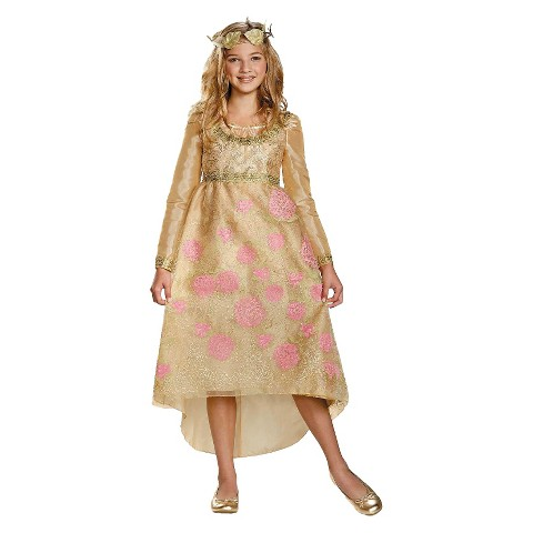 Girl's Maleficent - Aurora Coronation Deluxe  Dress and Headpiece