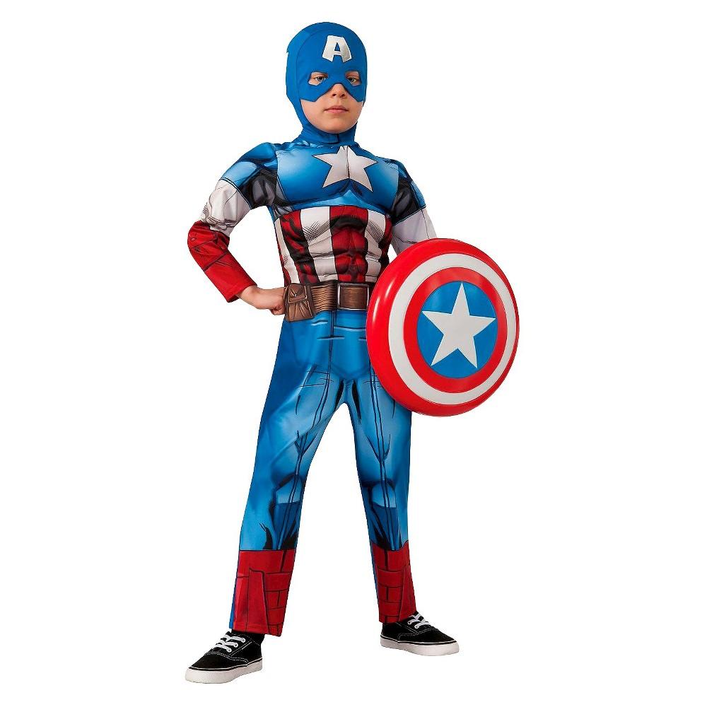 Marvel Avengers Boys' Captain America Costume Large (12-14), Boy's, Size: L (12-14), Multicolored