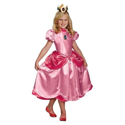 Girl's Super Mario Brothers Deluxe Princess Peach Costume