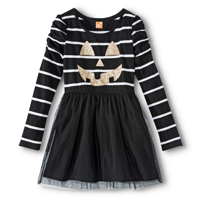Image of Girls' Casual Halloween Dress - Black XL