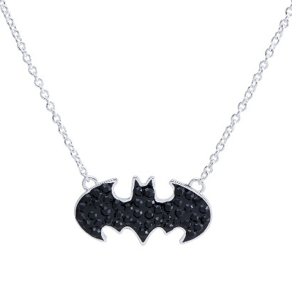 "DC Comics® Batgirl Silver- Plated Batman Logo Necklace with Jet Black Crystal Accent  - Black (18"")"