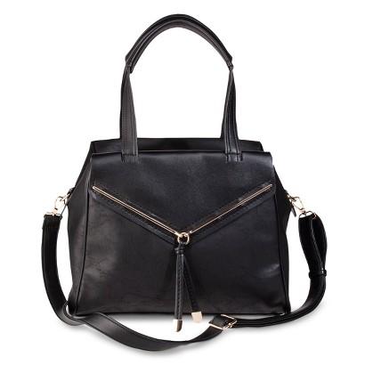 Melie Shoulder Satchel Handbag with Removable Crossbody Strap - Black