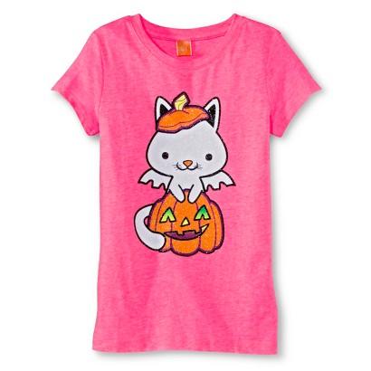 Image of Girls' Halloween Graphic Tee - Dazzle Pink XL