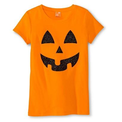 Image of Girls' Halloween Pumpkin Graphic Tee - Dizzy Orange XS