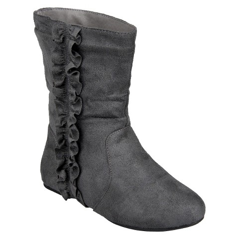 Girl's Journee Kids Sueded Ruffle Detail Boots