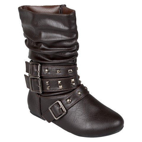 Girl's Journee Collection Studded Buckle Boots