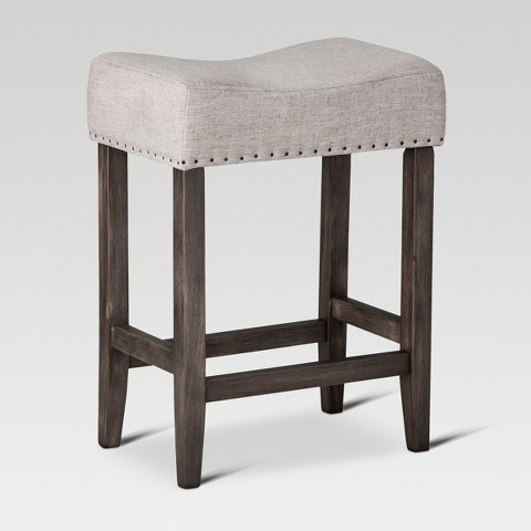 Counter Height Saddle Stools : Rumford Linen Saddle 24