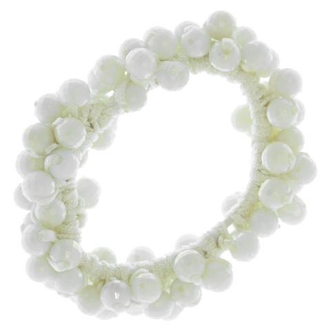 Women's Riviera® Elastic Ponytail with Beads - White