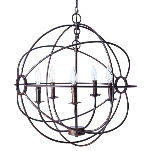 Yosemite 5 Light Mini Chandelier Rustic - Black