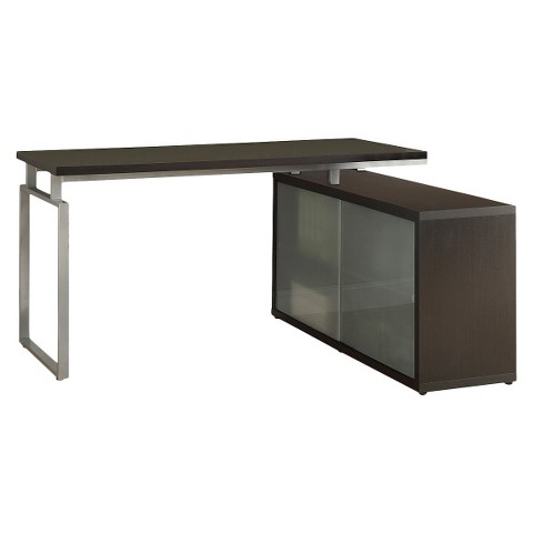 Hollow Core L Shaped Desk with Frosted Glass - Monarch Specialties