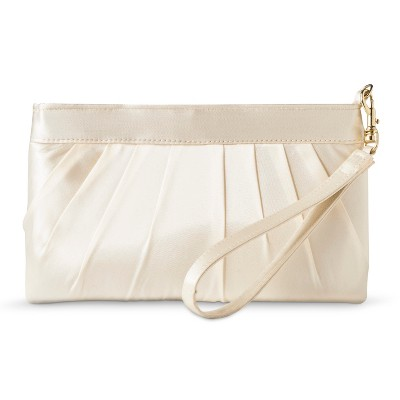 Women's Satin Pleated Clutch with Removable Wristlet and Crossbody Strap Ivory - Tevolio™