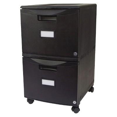 Storex® Two-Drawer Mobile Filing Cabinet - Black