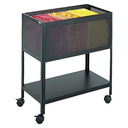 Safco® Steel Mesh Open-Top Tub Filing Cart - Black
