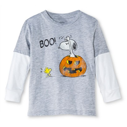 Image of Snoopy Infant Toddler Boys' Long Sleeve Halloween Tee - Heather Gray