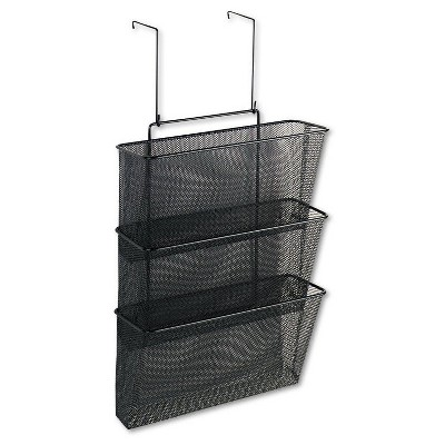 Fellowes® 12 5/8 x 16 3/4 Mesh Partition Additions Three-File Pocket Organizer- Black