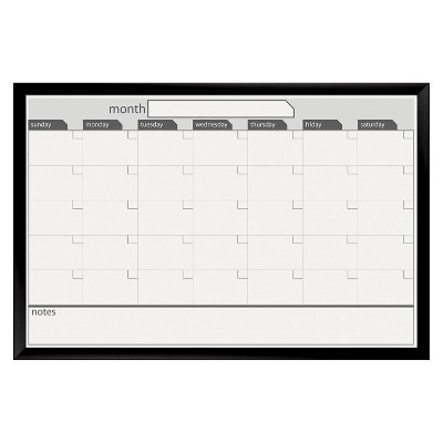 "The Board Dudes 36"" x 24"" Calendar Magnetic Dry Erase Board with Black Frame - Black/White"