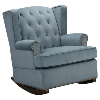 Tufted Nailhead Wingback Rocker - Blue