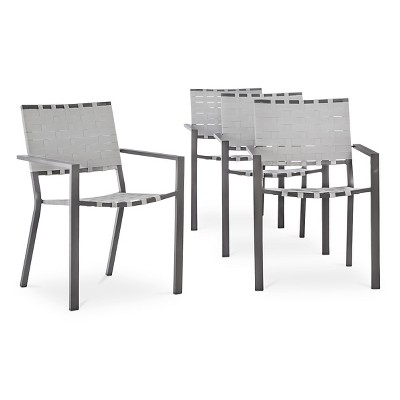 Blake 4-Piece Metal Woven Strap Dining Chair Set - Threshold™