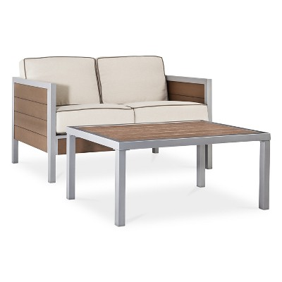 Bryant 2-Piece Faux Wood Loveseat and Coffee Table Set - Threshold™