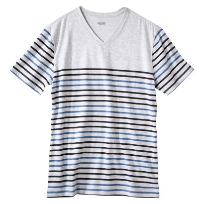 Mossimo Supply Co. Men's Striped V-Neck T-Shirt Silver Springs