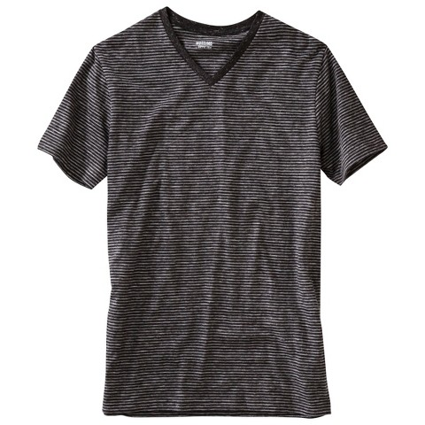 Mossimo Supply Co. Men's Striped V-Neck T-Shirt Soot Black