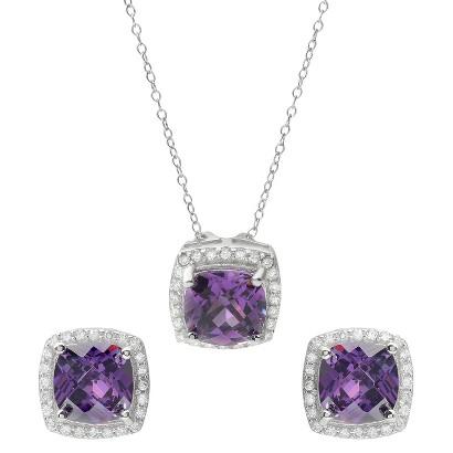 8 CT. T.W. Square Cut Cubic Zirconia Basket Set Jewelry Set in Sterling Silver - Purple