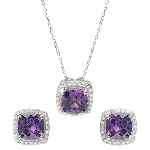 8 CT. T.W. Square Cut Cubic Zirconia Basket Set Jewelry Set in Sterling Silver - Purple