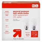 up & up™ Light Bulb CFL General Purpose Soft White 2PK 40 Watt