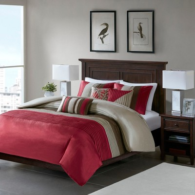 Salem 6 Piece Duvet Set - Red/Brown (Queen)