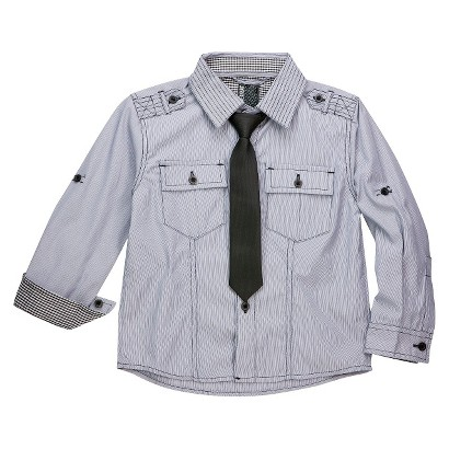 Infant Toddler Boys' Long Sleeve Striped Buttondown with Tie - Light Gray