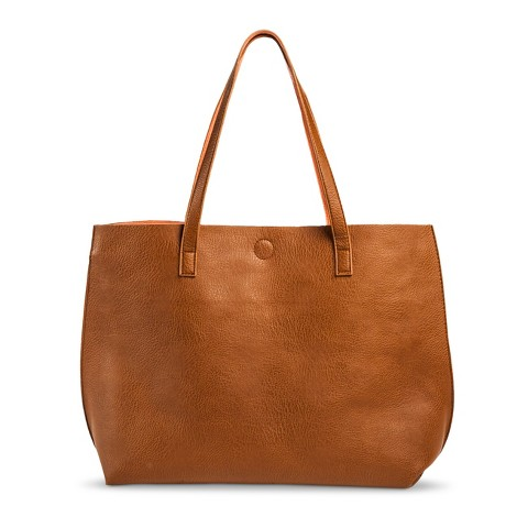 Image of Target Reversable Tote in Brown/Coral