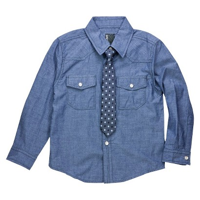 Infant Toddler Boys' Long Sleeve Buttondown with Tie - Chambray