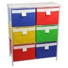 Household Essentials® 3-Shelf White Storage Unit with 6 Bins - Multicolor