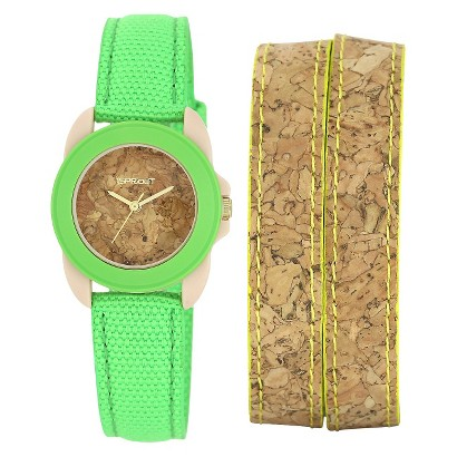 Women's Sprout® Cork Dial Watch- Green/Yellow