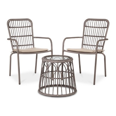 Seward 3-Piece Wicker Patio Chat Set - Taupe - Threshold™