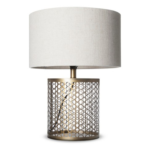 open metal circle pattern table lamp target. Black Bedroom Furniture Sets. Home Design Ideas