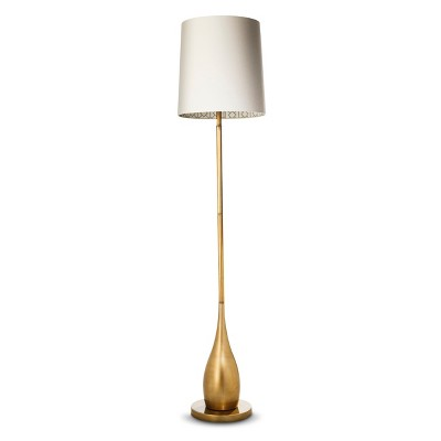 Bulbous Floor Lamp with Inside Pattern Shade - Antique Gold (Includes CFL Bulb)