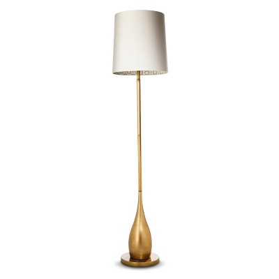 Bulbous Floor Lamp with Inside Pattern Shade - Antique Gold