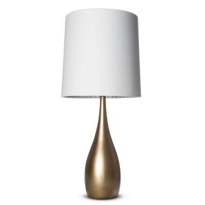 Bulbous Table Lamp with Inside Pattern Shade  - Antique Gold