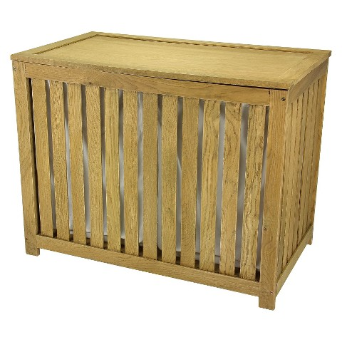 Household Essentials® Double Hamper with Removable Cotton Bags - Oak Barnwood Finish