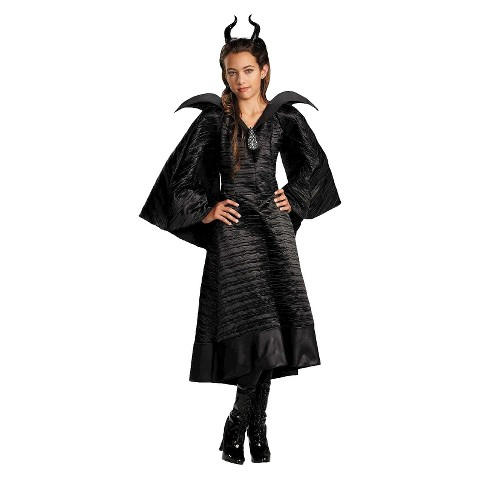 Girl's Maleficent Christening Deluxe Black  Dress and Headpiece