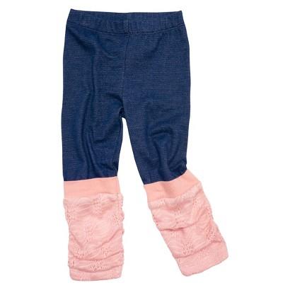 Infant Toddler Girls' Leg Warmer Legging - Denim/Pink