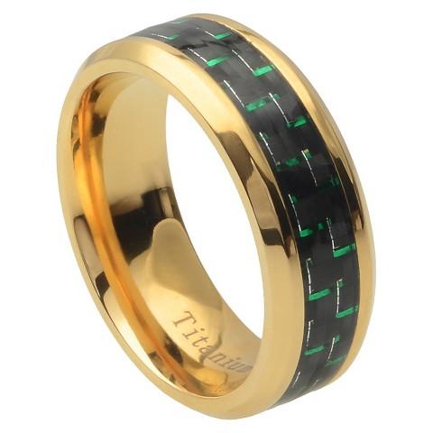 Titanium Band with Carbon Fiber Inlay  - Green